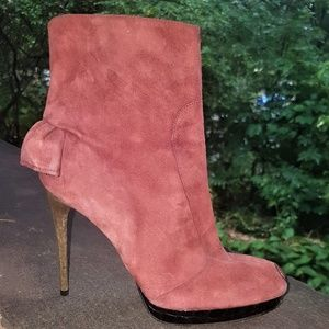 DSQUARED2 Pink Suede Frilled Ankle Boots